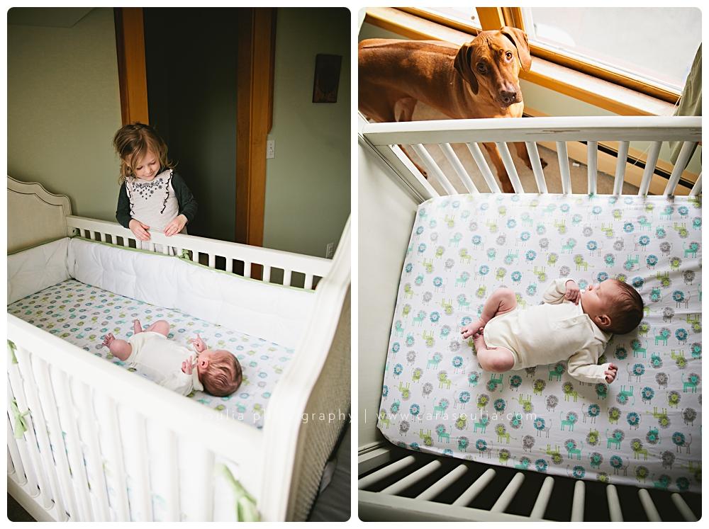 newborn photo session with big sister boston ma