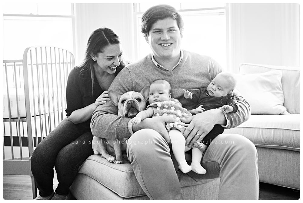 Adorable family with newborn twins at Boston newborn photo session