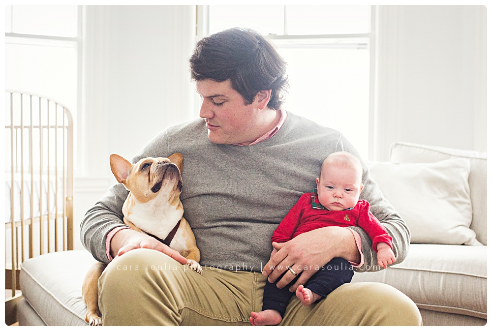 newborn photo session with dog boston mass