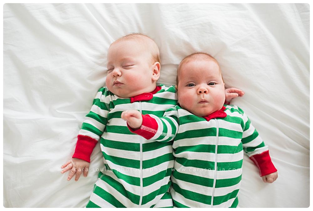 newborn twins photo session at home boston