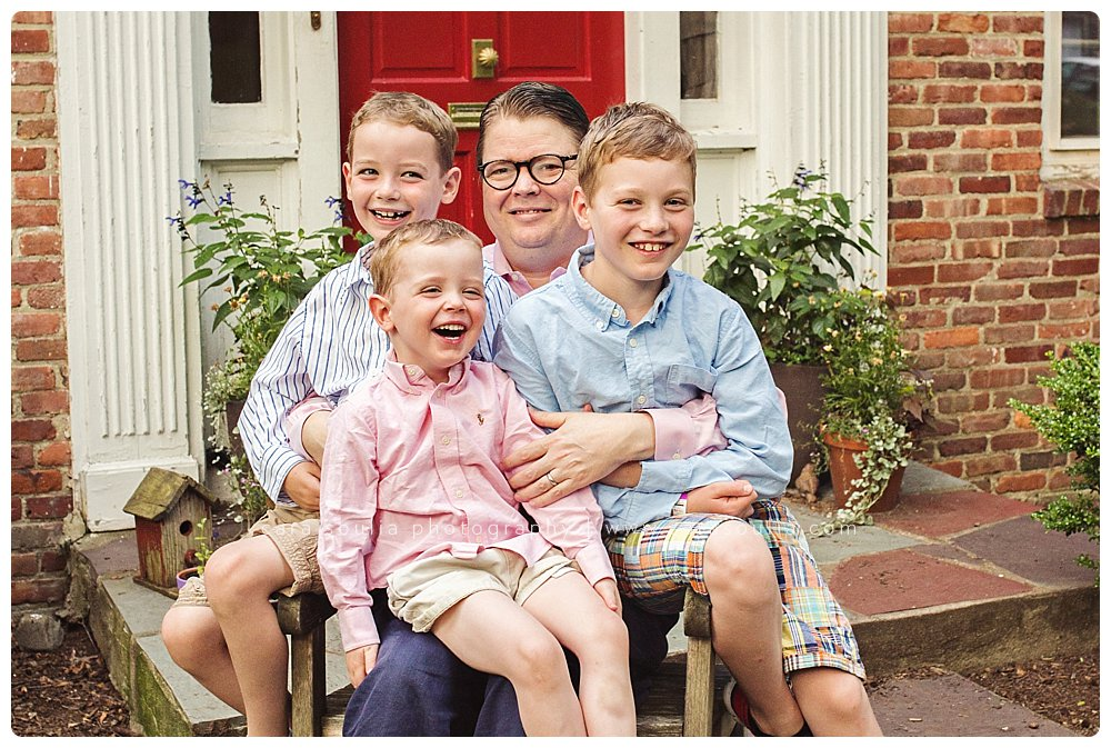 A father with his three beautiful sons at their home in Brookline, MA