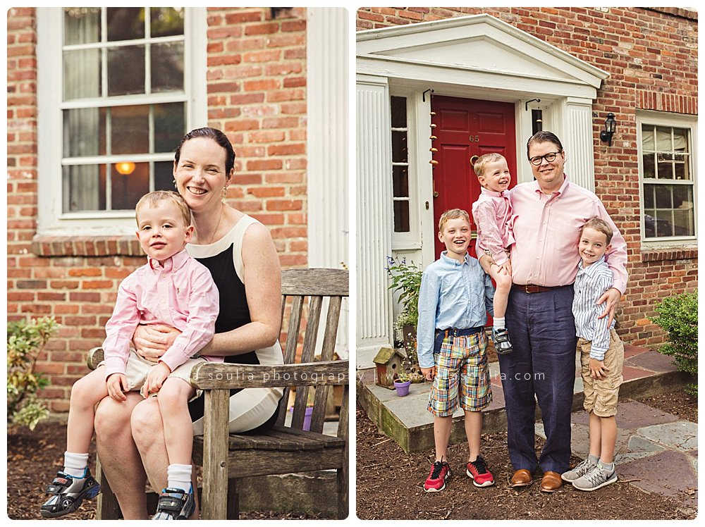 posed family portraits outdoors on the front steps
