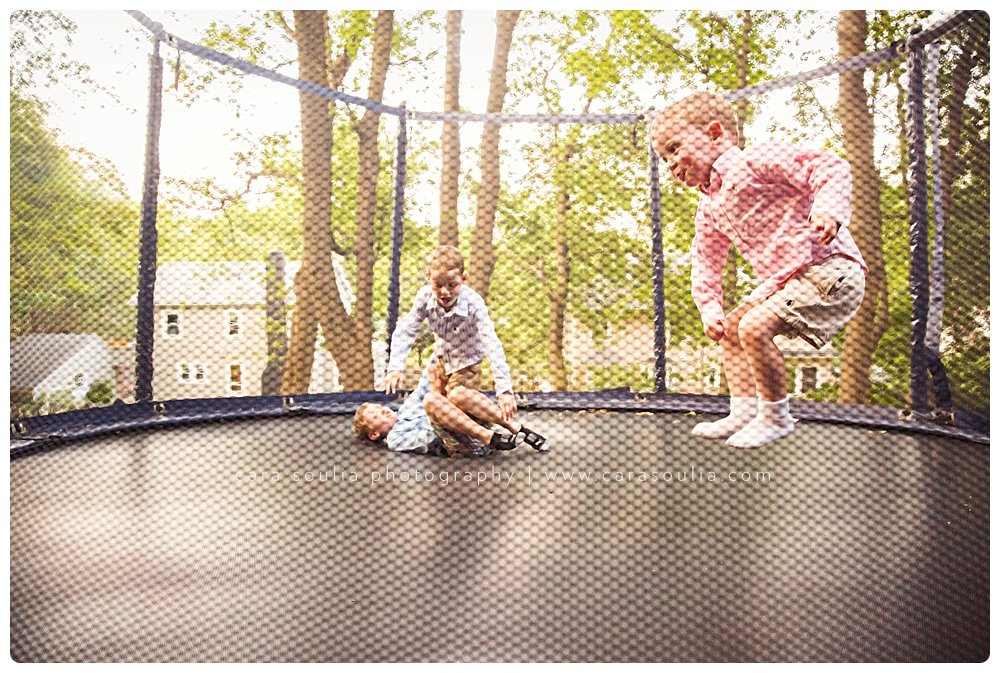 Fun on the trampoline makes great action family photos