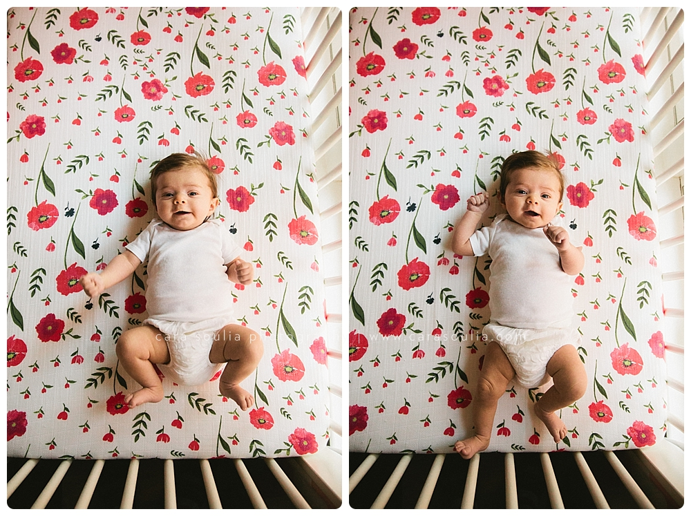 gorgeous baby girl in her crib in her home in Boston, MA