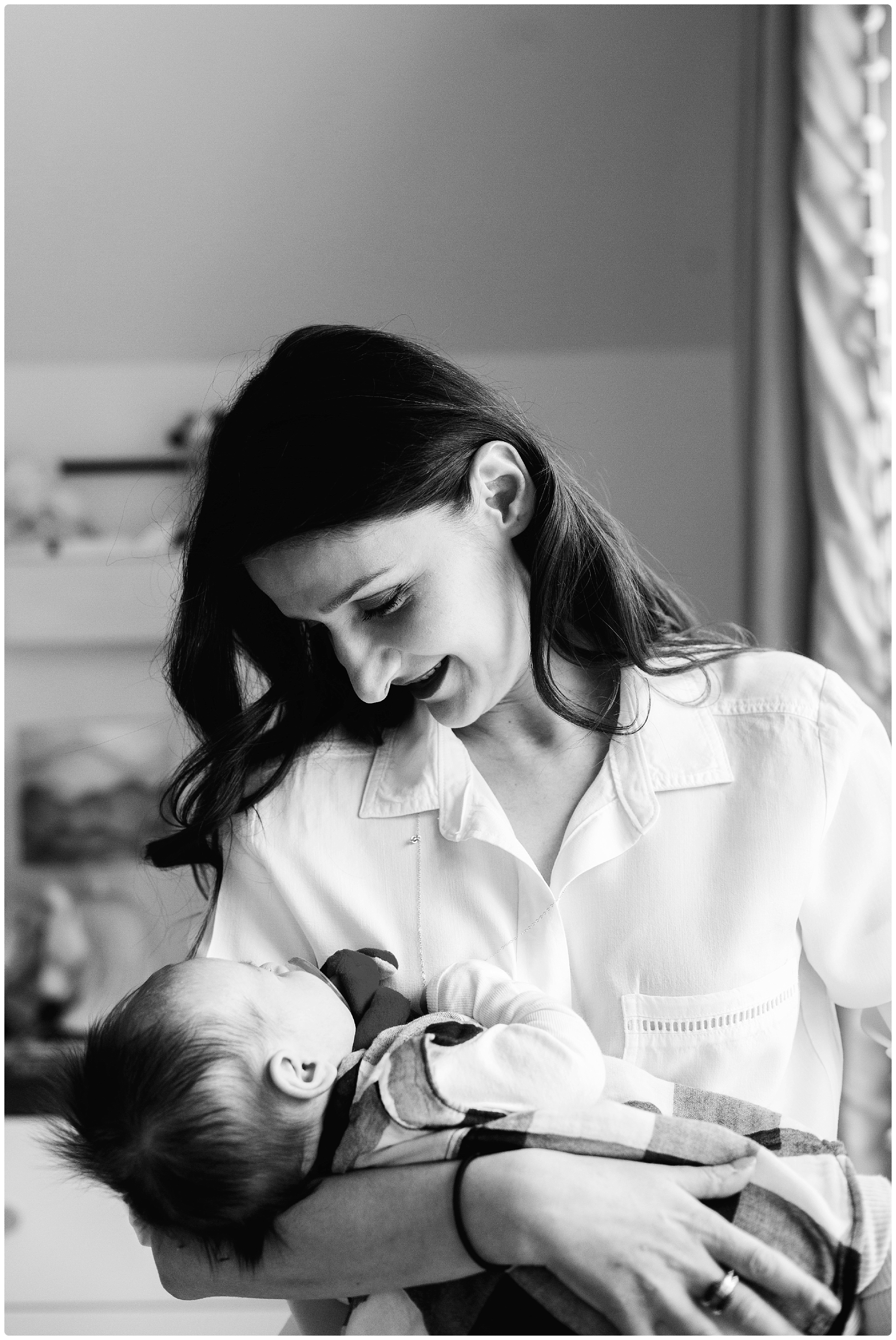 classic black and white newborn photography boston