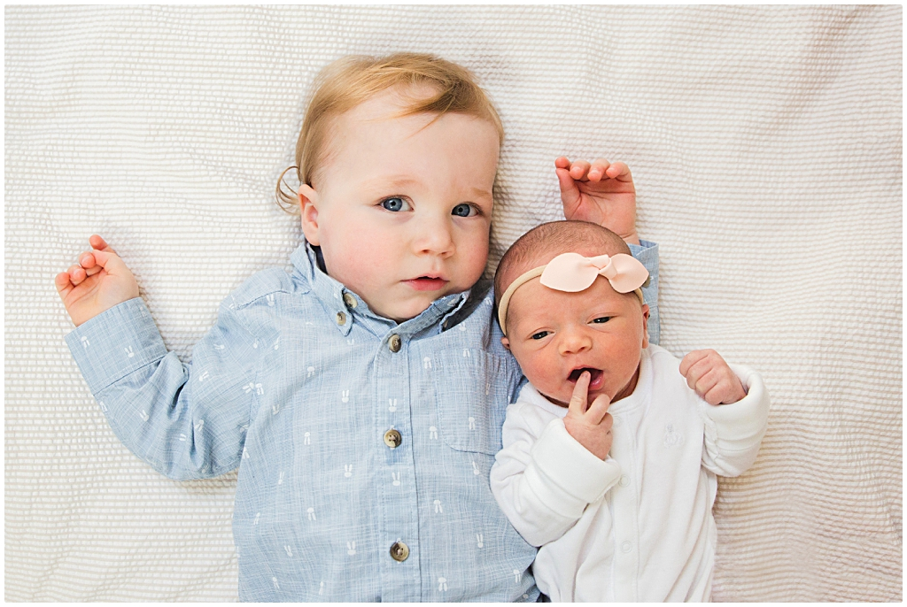 Sibling Portrait at in home lifestyle newborn photo session