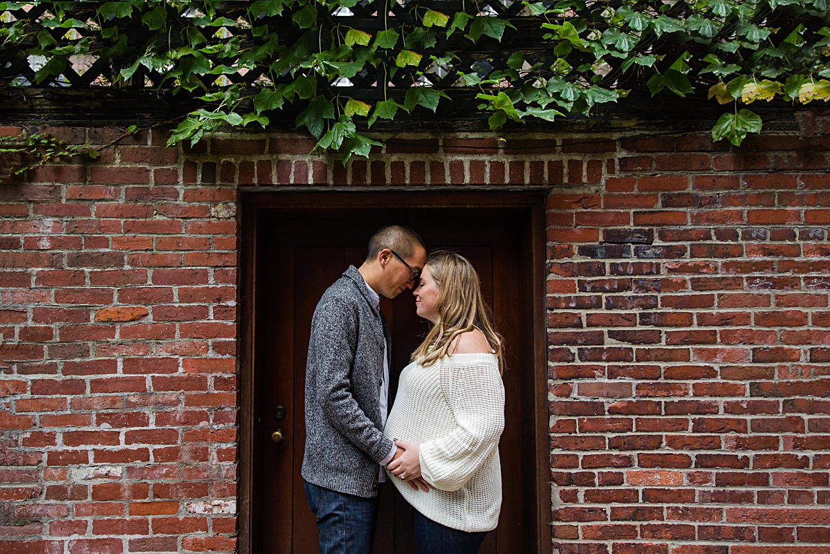 Couple in historic Beacon Hill for downtown Boston maternity session