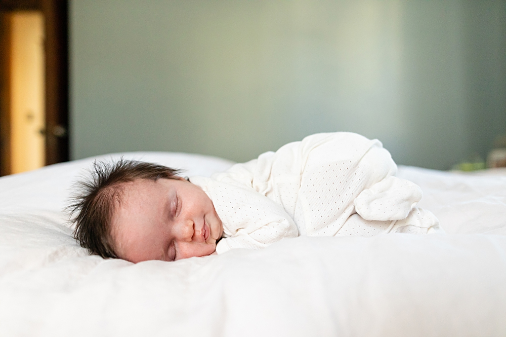newborn baby at a boston home photo session