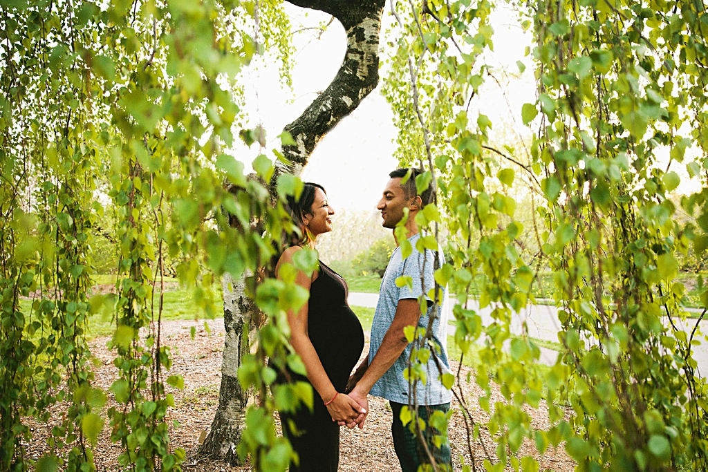 Unique maternity couples portrait at Arnold Arboretum