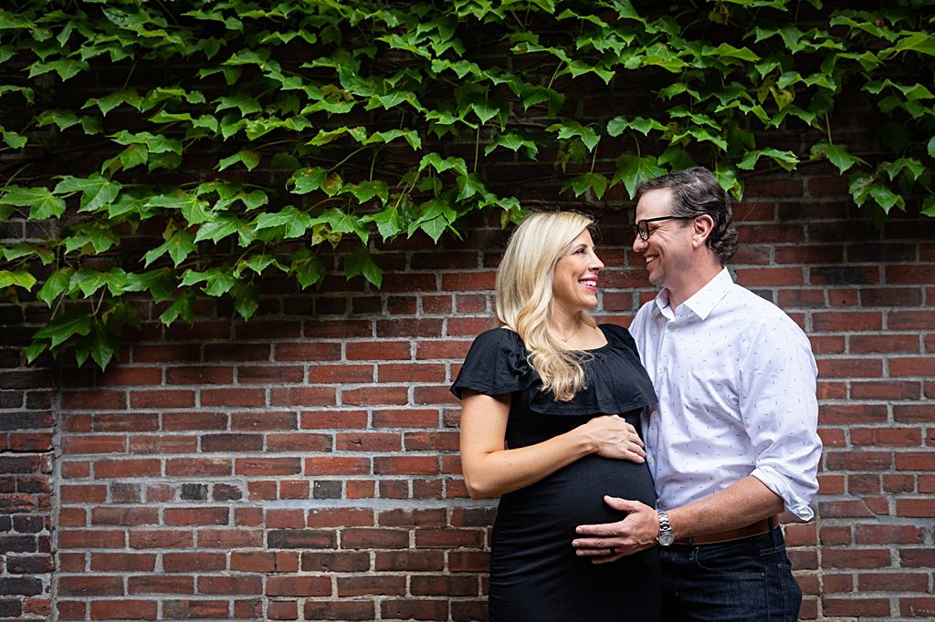 Happy Couple at maternity session in downtown boston