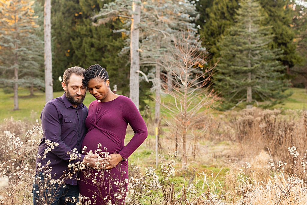 Loving couple at maternity session at Arnold Arboretum in Boston