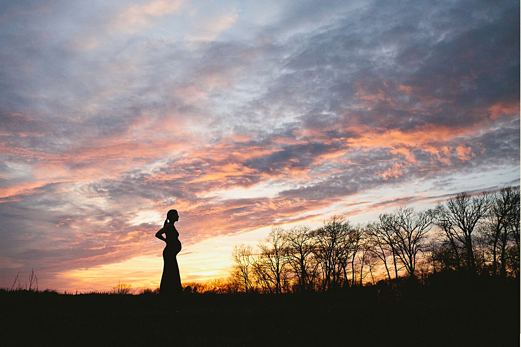 Sunset Silhouette Maternity Portrait