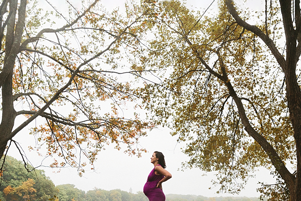 Maternity Portrait with the trees in Boston