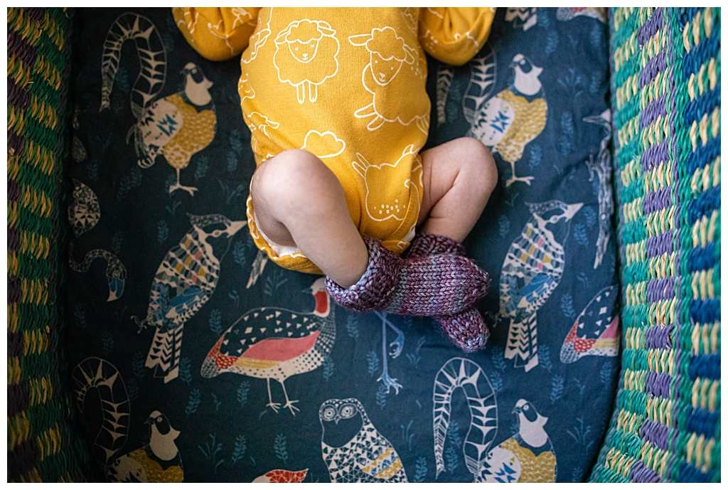 hand knitted booties on baby at boston newborn photography session