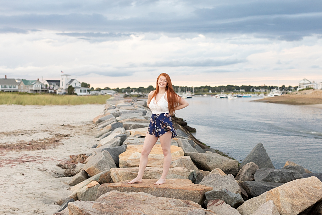 senior photo session on the beach in boston